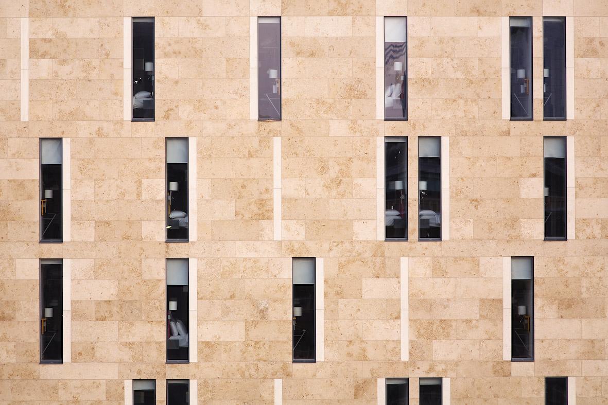 The upper building clad in Jura Limestone