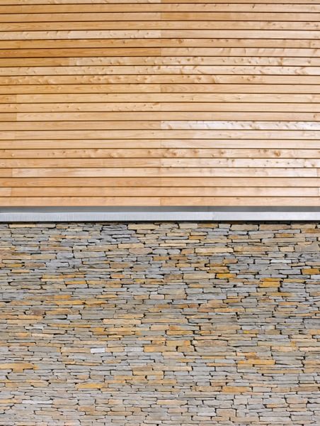 Larch House stone & larch cladding detail (c) Jefferson Smith