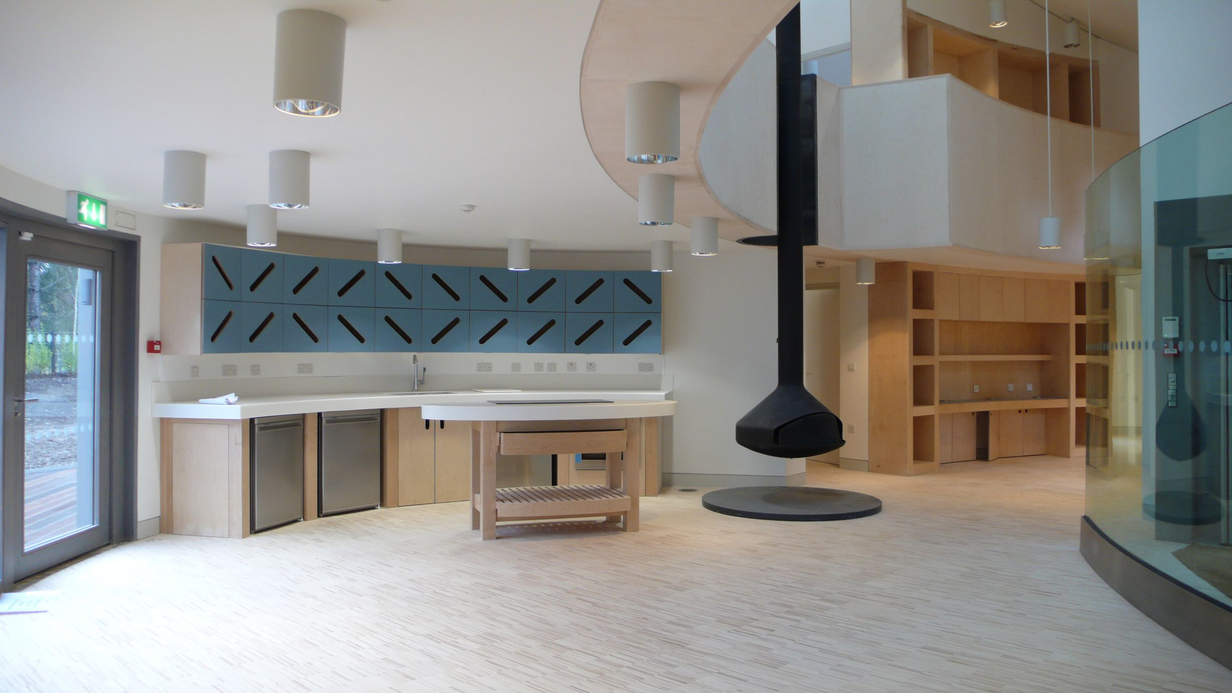 5 MSWW Kitchen, fireplace, mezzanine and library