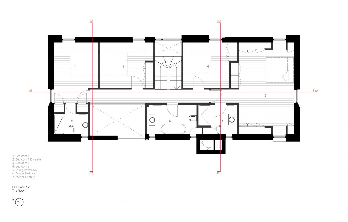 First Floor Plan - with section lines