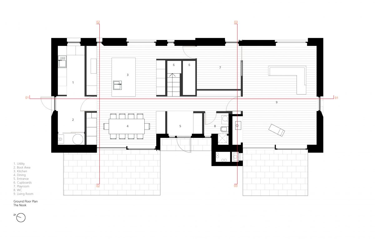 Ground Floor Plan - with section lines